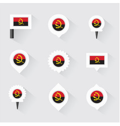 Angola flag and pins for infographic and map vector