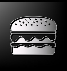 Burger simple sign gray 3d printed icon vector