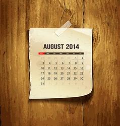Calendar August 2014 vector image vector image
