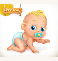cute kid baby 3d icon vector image