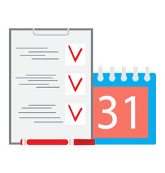 Deadline task Calendar and list Business concept vector image vector image