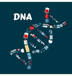 Dna formed of healthcare or medicine icons vector