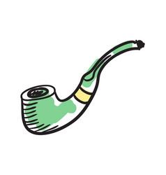 English smoking pipe hand drawn icon vector