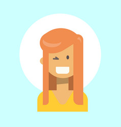 Female winking emotion profile icon woman cartoon vector