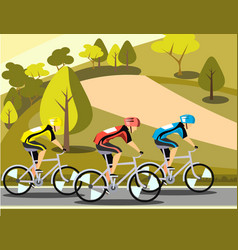 Group of cyclists man in road sport vector