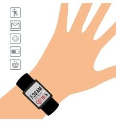Hand wearing smart watch wearable technology vector
