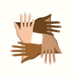 Hands together celebrating special day vector