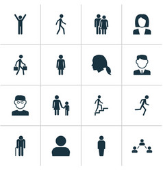 Human icons set collection of running family vector