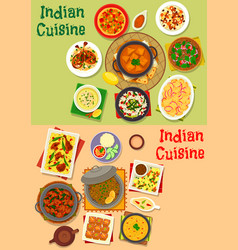 Indian cuisine dinner dishes menu icon set design vector