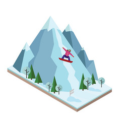 Isometric woman pulls off the mountain vector