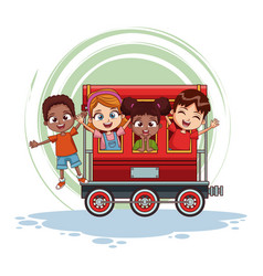 Kids on train cartoon vector