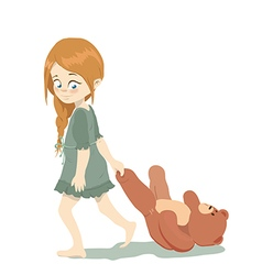 Little cute girl holding teddy bears paw for vector image vector image