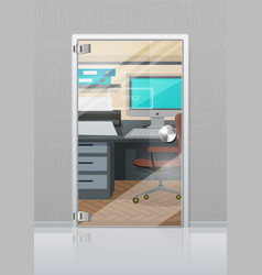 office interior through glass door flat vector image vector image