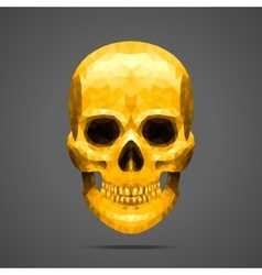 Polygonal gold skull vector image