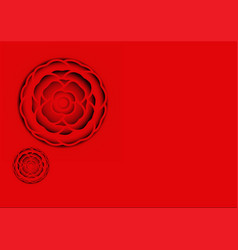 Red camellia paper carve vector