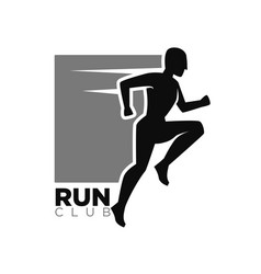 run club monochrome logotype with human in move vector image vector image