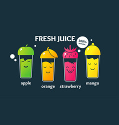Set fresh juices in glasses a poster on the topic vector