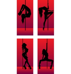 set of silhouettes dancing girls vector image