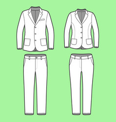 Simple outline drawing of a blazers and pants vector