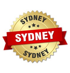 Sydney round golden badge with red ribbon vector