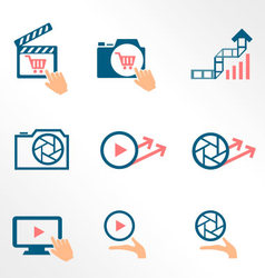 Video and photo bicolor flat icons vector image vector image