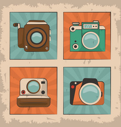 Vintage film movie camera photo retro device vector