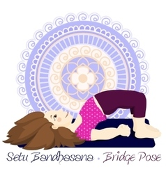 Girl in bridge pose with mandala background vector