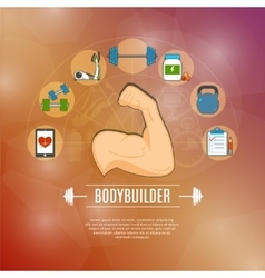 Bodybuilding concept icons set vector