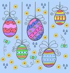 Art of easter egg style doodles vector