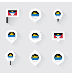antigua and barbuda flag and pins for infographic vector image