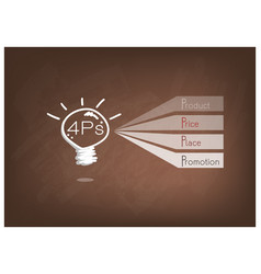 light bulb with 4ps marketing mix model vector image