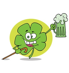 Green clover leaf cheering with a mug of beer vector