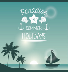 Blue color poster seaside with yacht and logo text vector