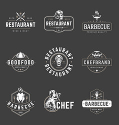 Restaurant logos templates objects set vector