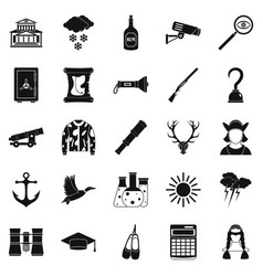 Hunt icons set simple style vector
