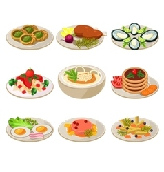 Set of food icons european lunch vector