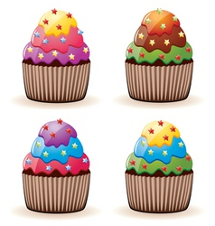 colorful cupcakes vector image