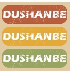 Vintage dushanbe stamp set vector