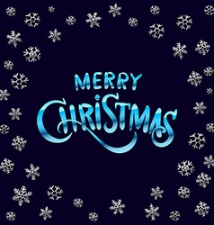 Merry christmas blue glittering lettering design vector