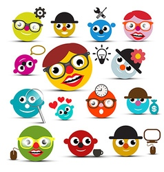 Funky people icons set vector