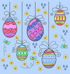 Art of easter egg style doodles vector