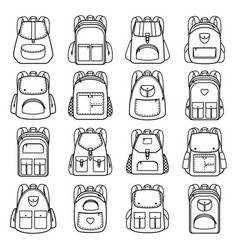 Bag pack linear icons vector