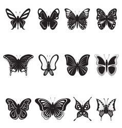 butterflies black silhouettes on white background vector image vector image