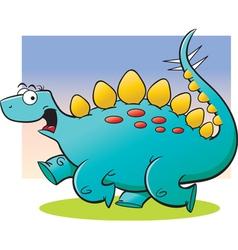 Cartoon Stegosaurus Running vector image vector image