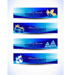 Christmas blue color headers vector