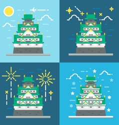 Flat design of osaka castle japan vector