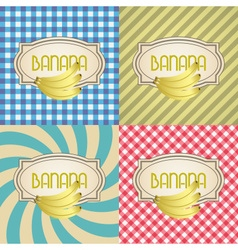 Four types of retro textured labels for banana vector