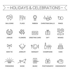 Holidays and celebrations Linear Black vector image