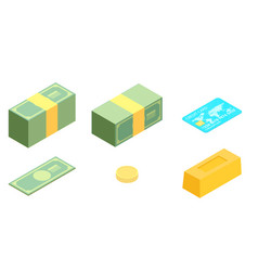 Money isometric icon set vector