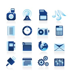 Phone performance and internet icons vector